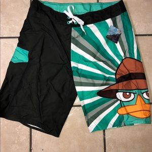Perry the platypus swim trunks board shorts NWT
